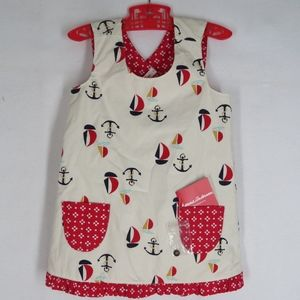 Hanna Andersson Apron Dress 90 White Red Sailboats